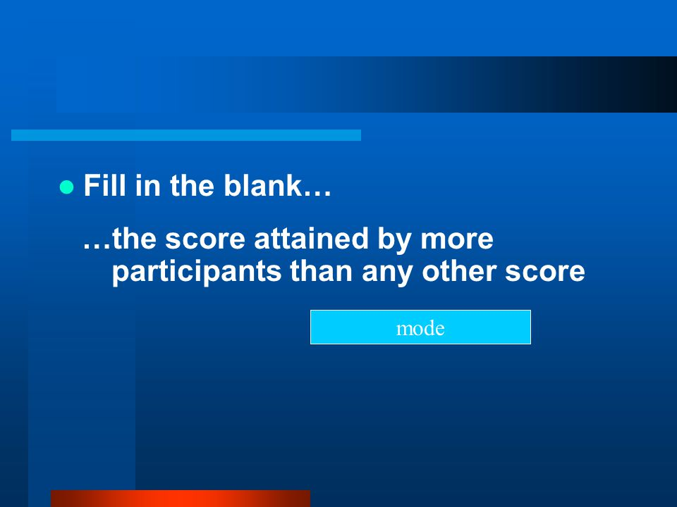 …the score attained by more participants than any other score