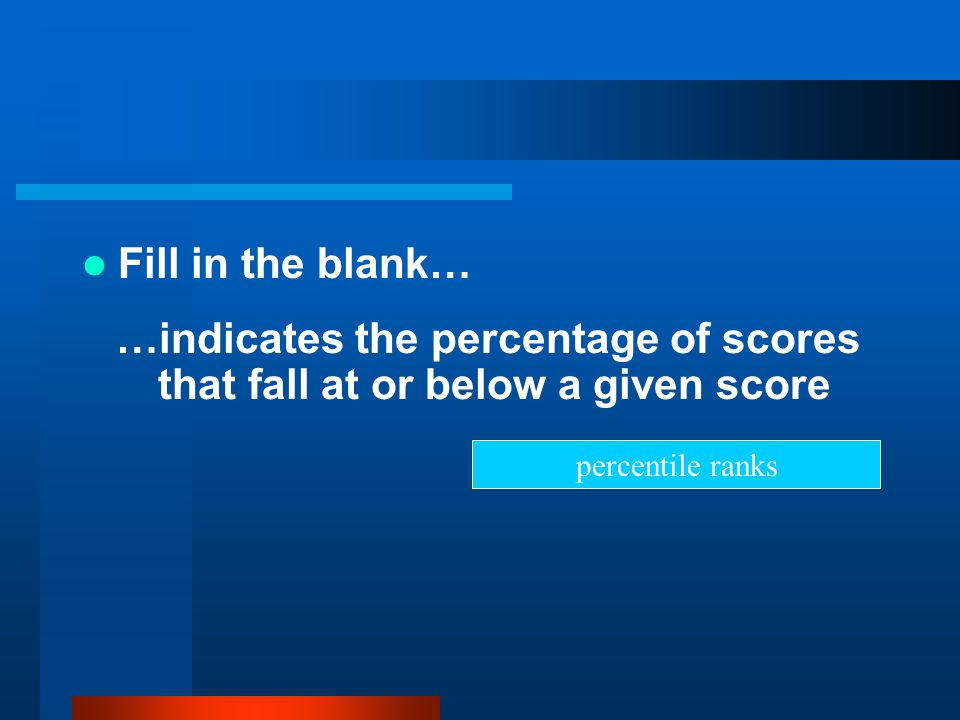 Fill in the blank… …indicates the percentage of scores that fall at or below a given score.