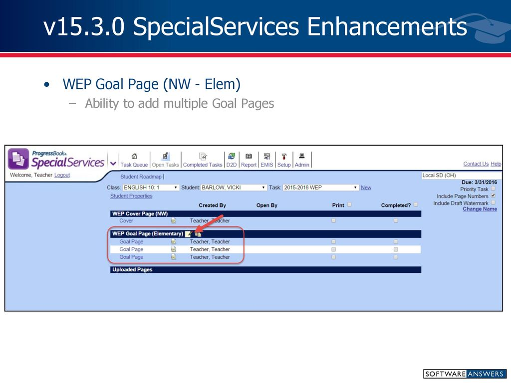 What's New in ProgressBook SpecialServices – Teacher v ppt