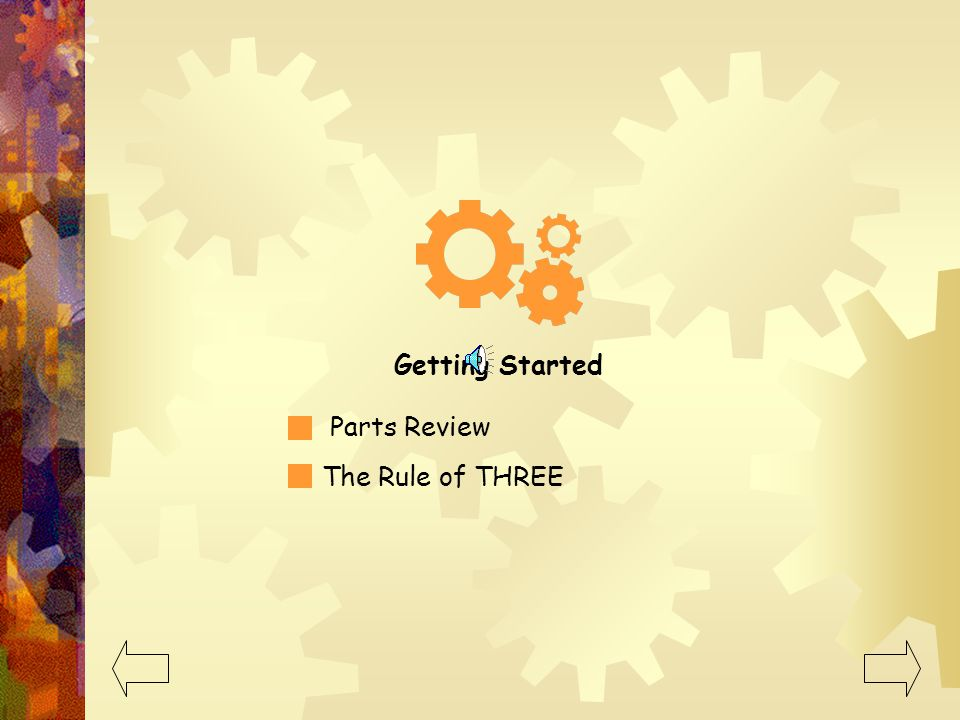 Getting Started Parts Review The Rule of THREE