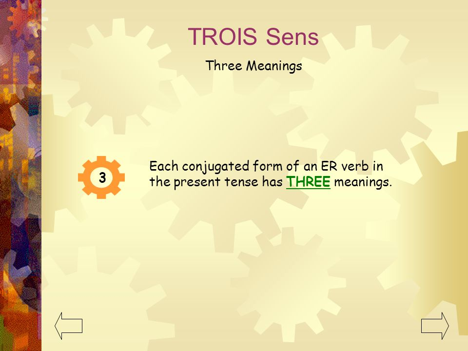 TROIS Sens Three Meanings