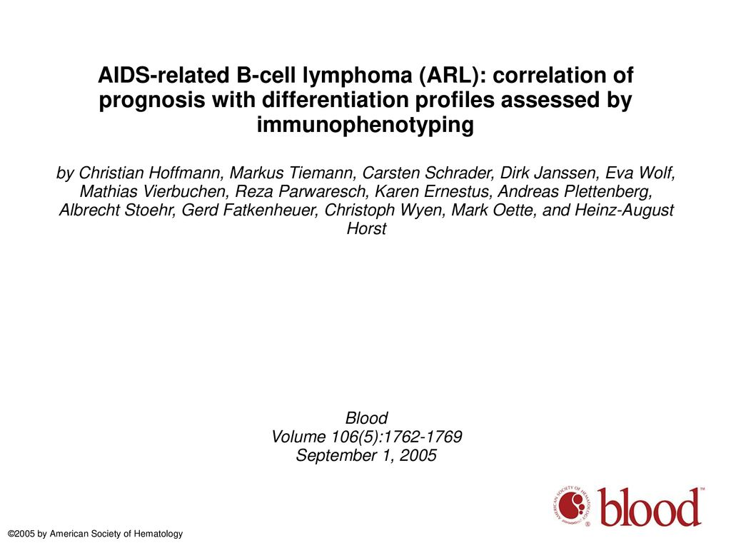 AIDS-related B-cell lymphoma (ARL): correlation of prognosis
