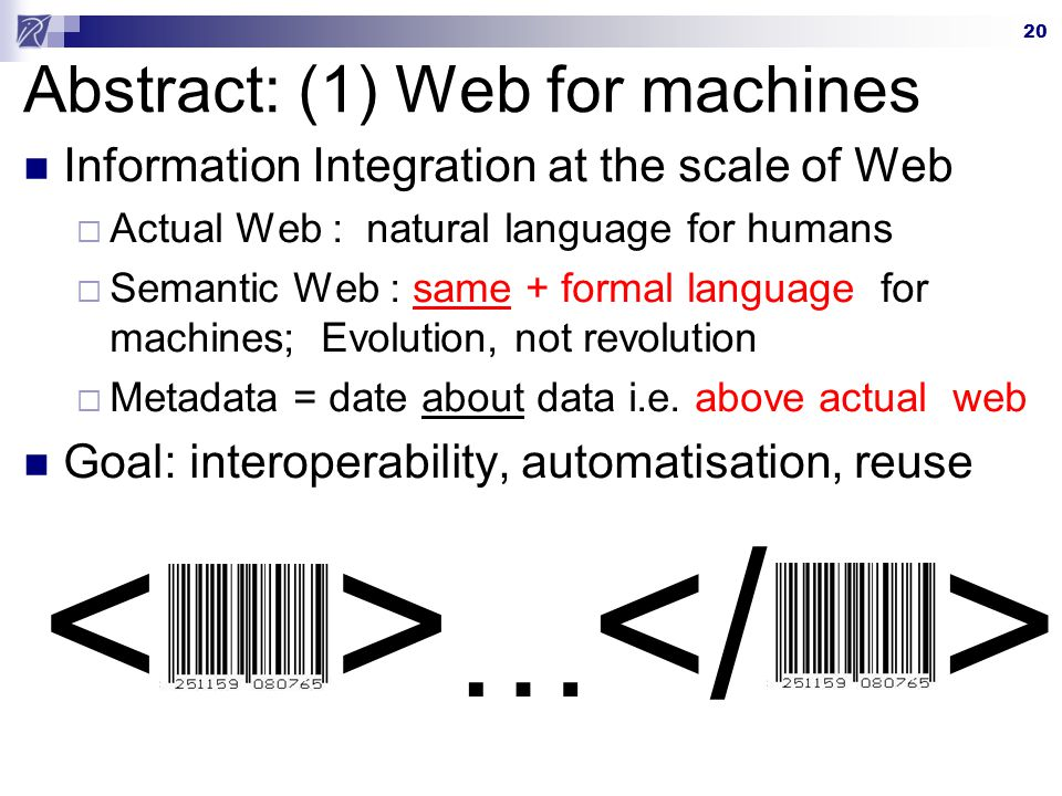 Abstract: (1) Web for machines