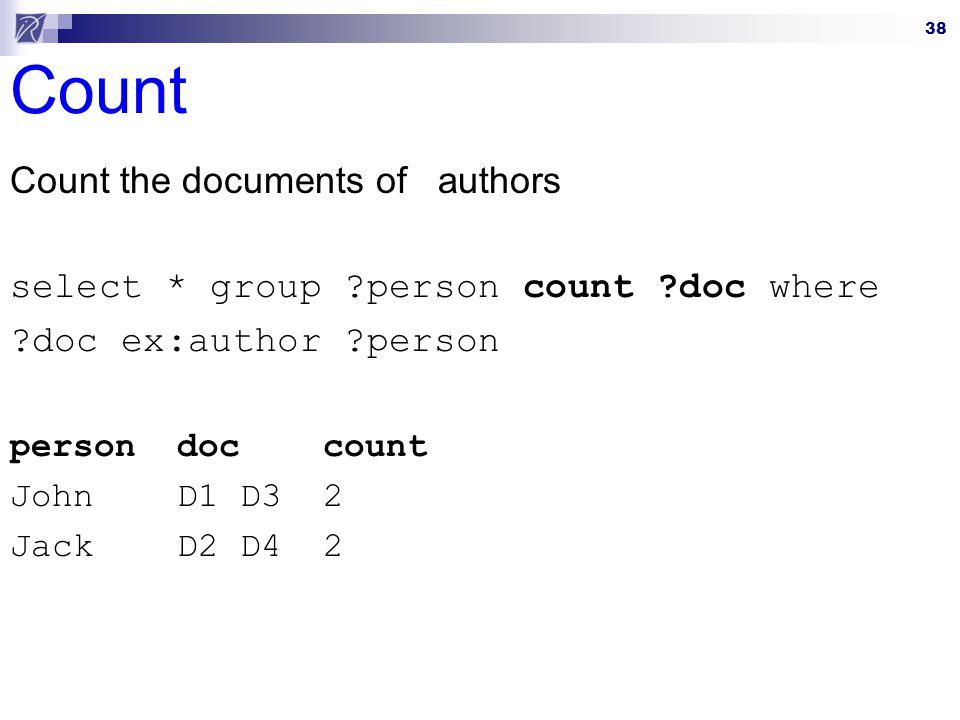 Count Count the documents of authors
