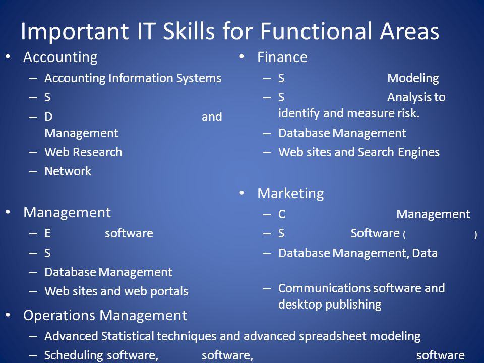 Important IT Skills for Functional Areas