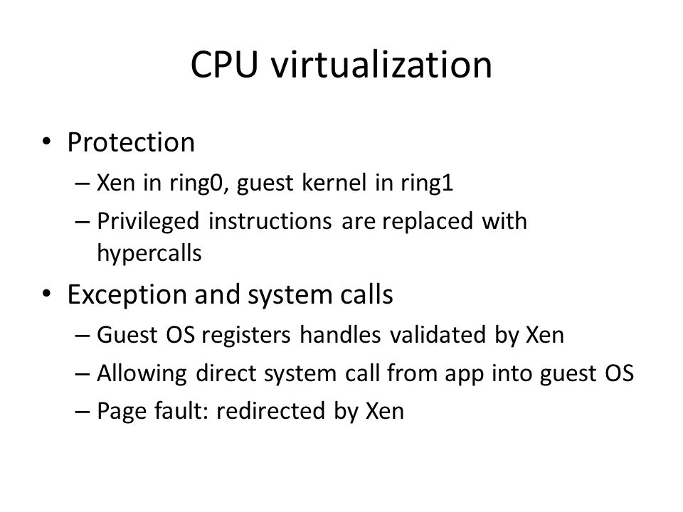 CPU virtualization Protection Exception and system calls