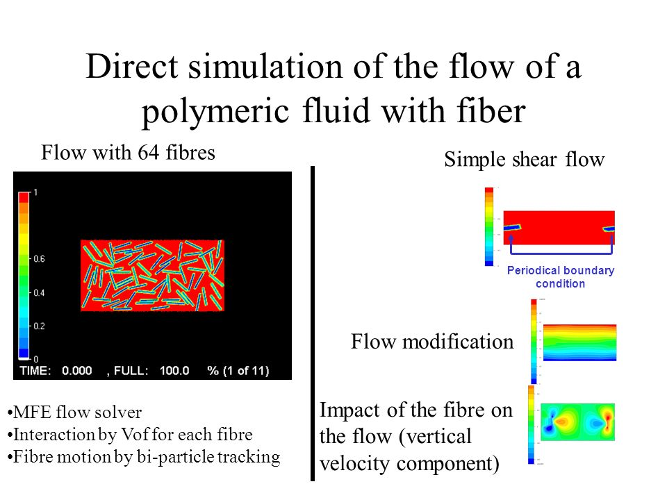 Direct simulation of the flow of a polymeric fluid with fiber