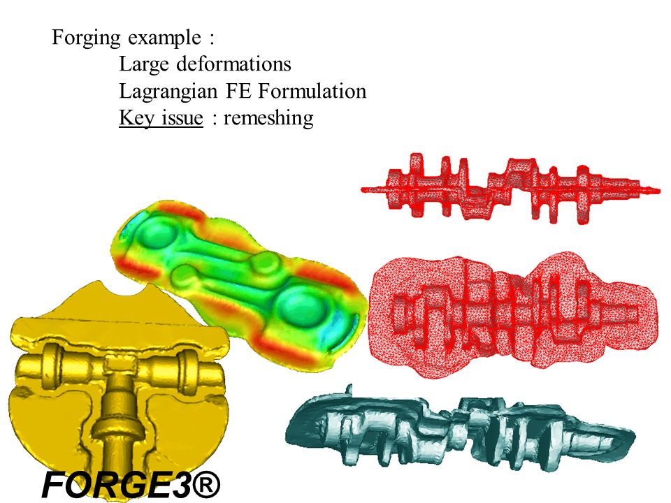 FORGE3® Forging example : Large deformations Lagrangian FE Formulation