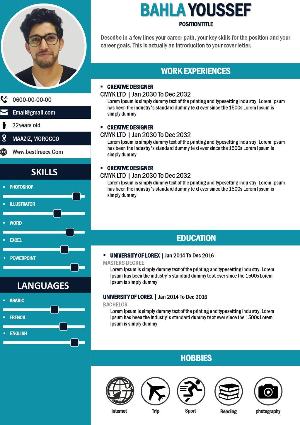 BAHLA YOUSSEF SKILLS EDUCATION LANGUAGES WORK EXPERIENCES