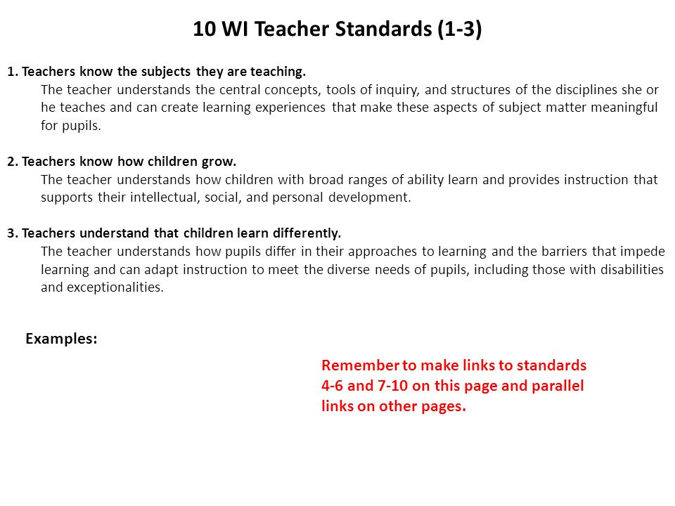 10 WI Teacher Standards (1-3)