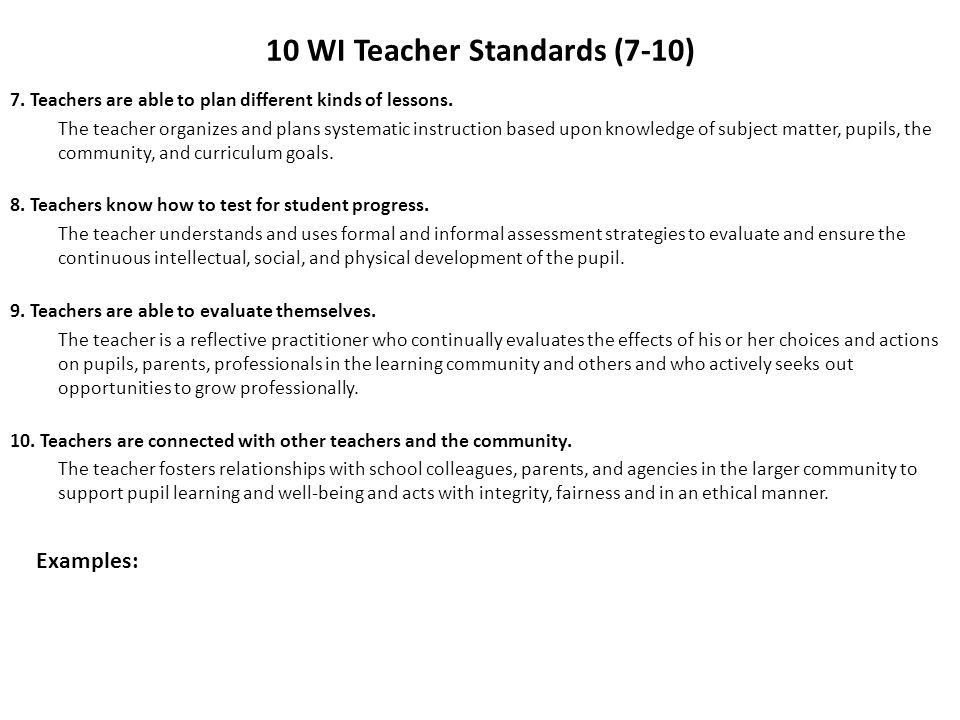 10 WI Teacher Standards (7-10)