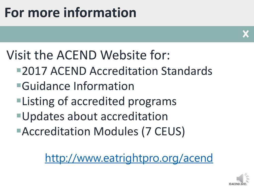 ACEND® 2017 Accreditation Standards Overview - ppt download