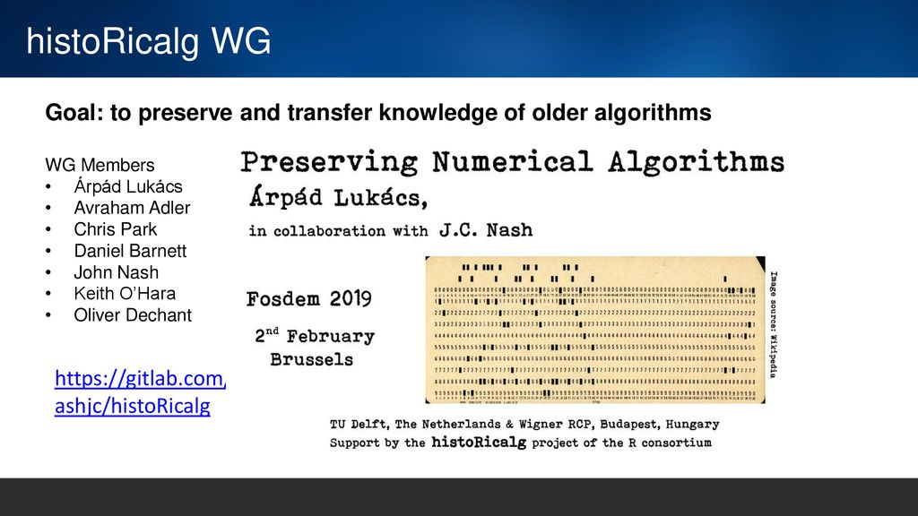 histoRicalg WG Goal: to preserve and transfer knowledge of older algorithms. WG Members. Árpád Lukács.
