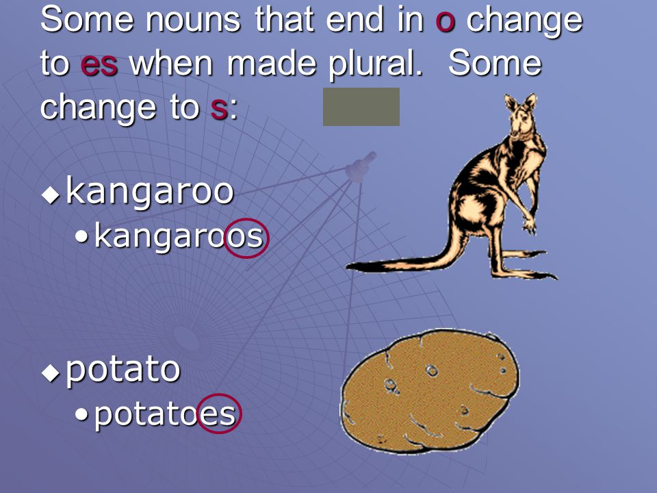 Some nouns that end in o change to es when made plural