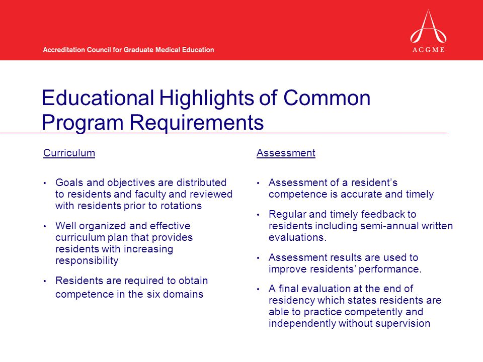 Educational Highlights of Common Program Requirements