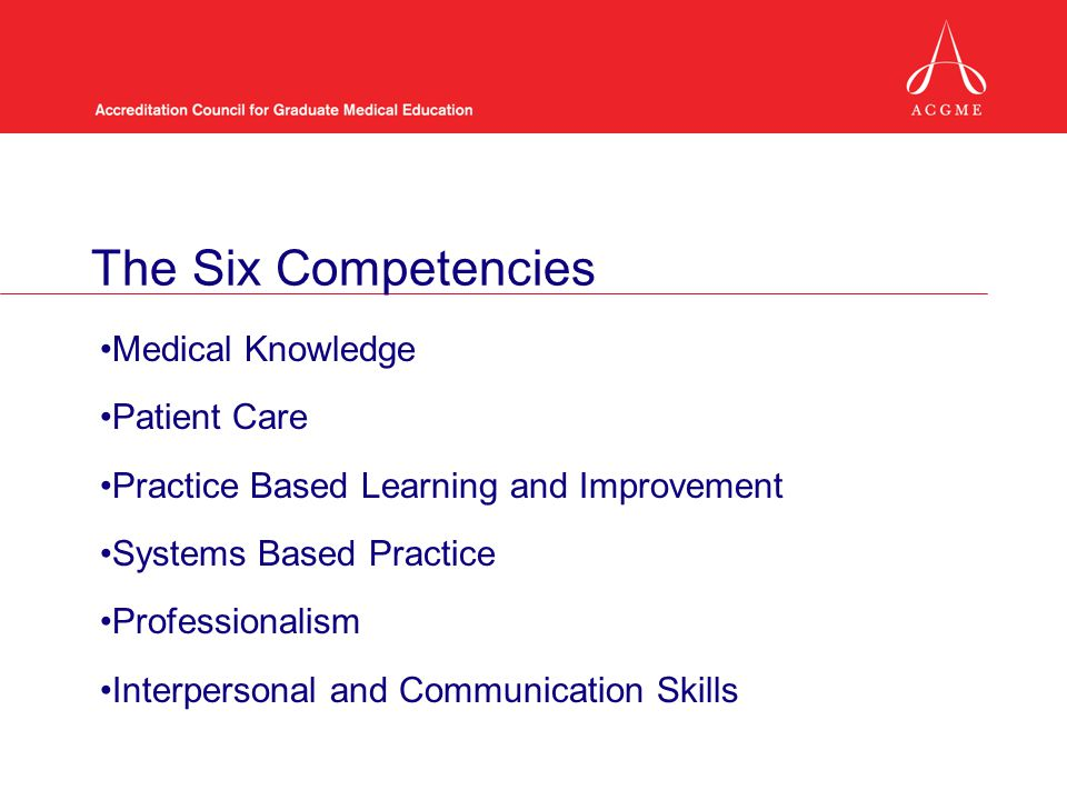 The Six Competencies Medical Knowledge Patient Care