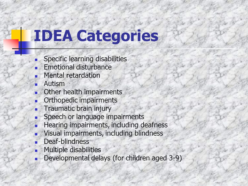 IDEA Categories Specific learning disabilities Emotional disturbance