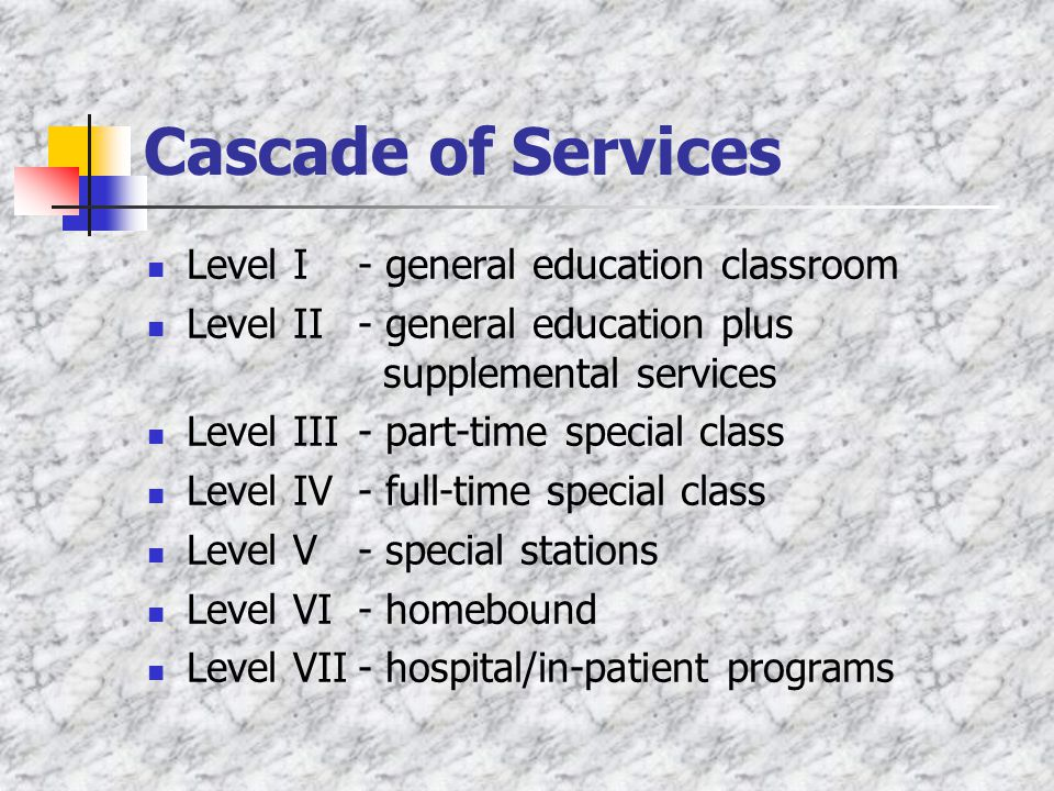 Cascade of Services Level I - general education classroom