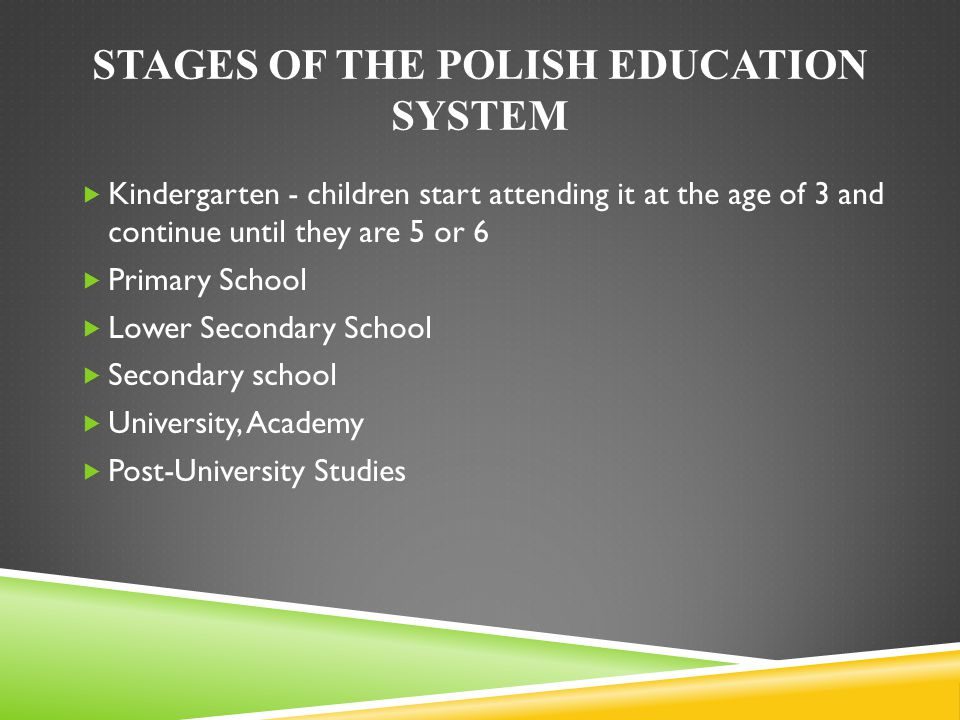 STAGES OF THE POLISH EDUCATION SYSTEM