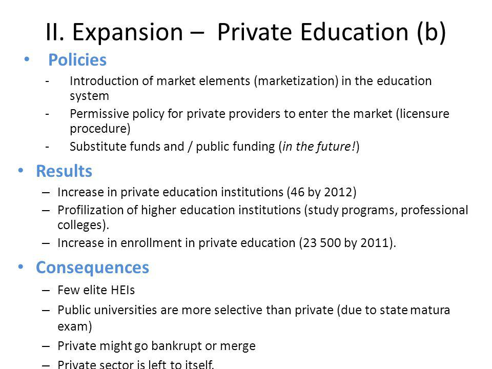 II. Expansion – Private Education (b)