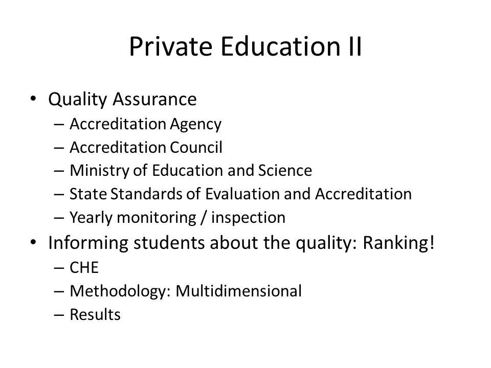Private Education II Quality Assurance