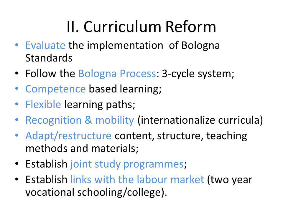 II. Curriculum Reform Evaluate the implementation of Bologna Standards