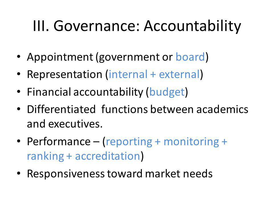 III. Governance: Accountability