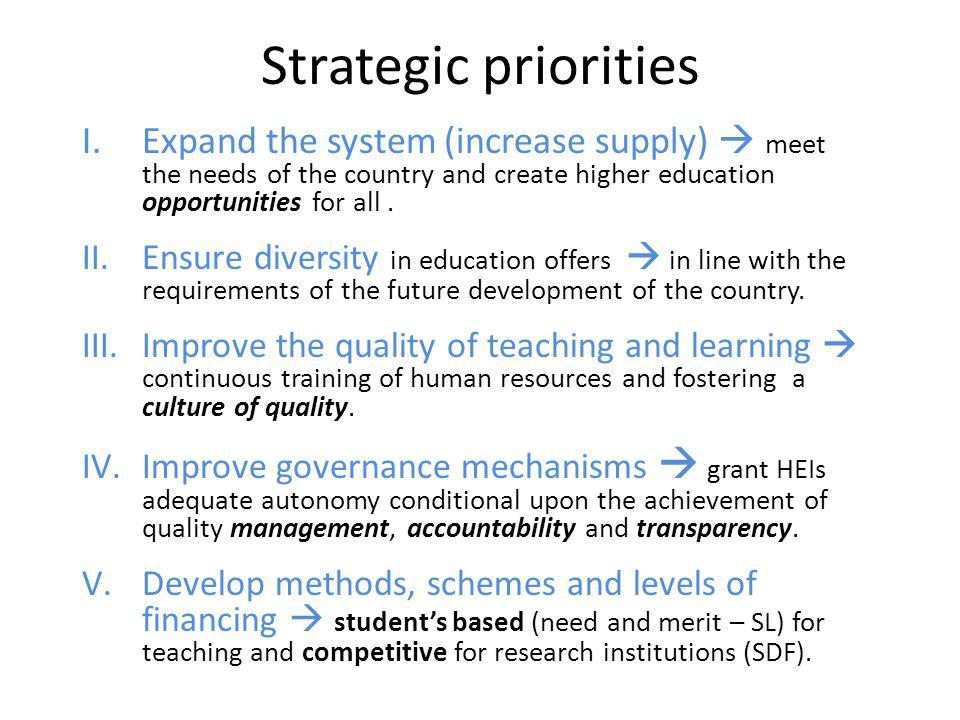 Strategic priorities Expand the system (increase supply)  meet the needs of the country and create higher education opportunities for all .