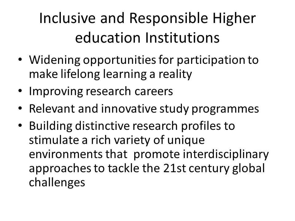 Inclusive and Responsible Higher education Institutions