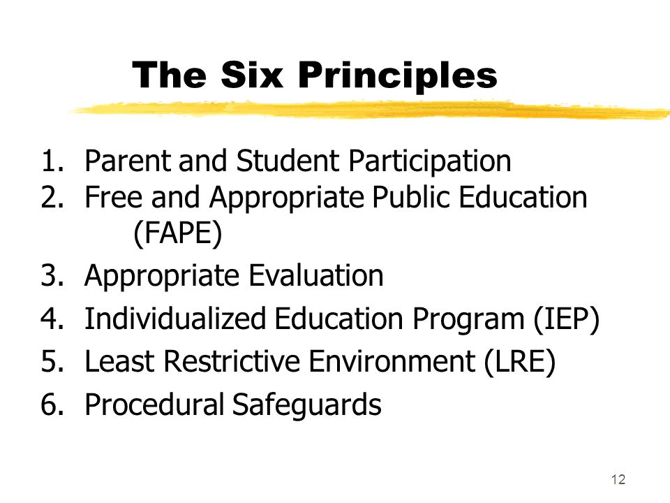 The Six Principles 1. Parent and Student Participation