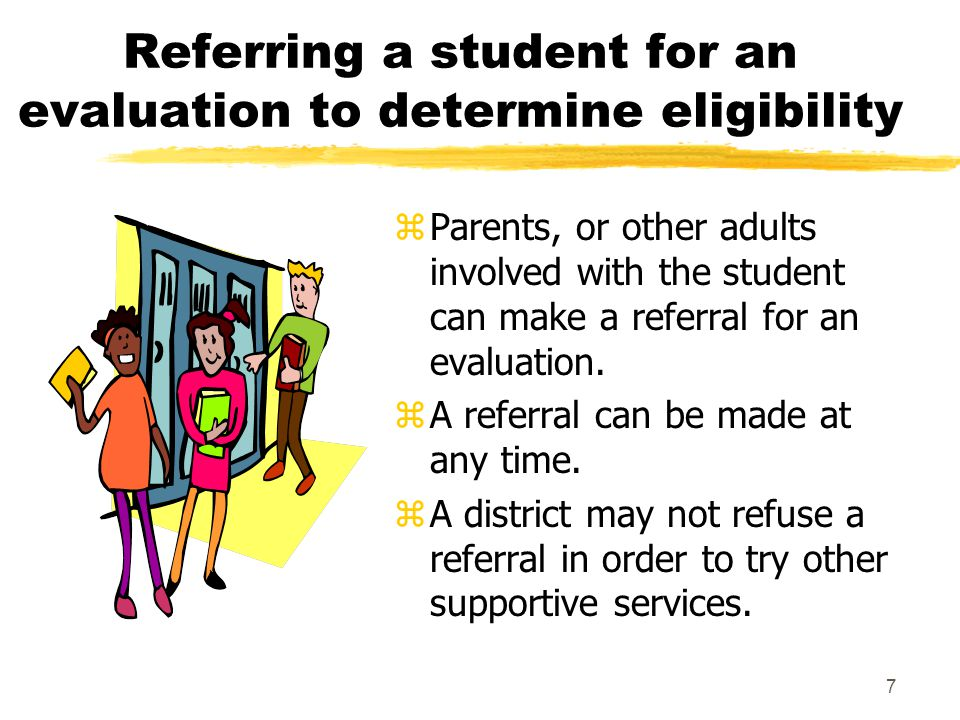Referring a student for an evaluation to determine eligibility