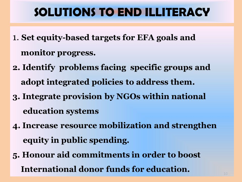 SOLUTIONS TO END ILLITERACY
