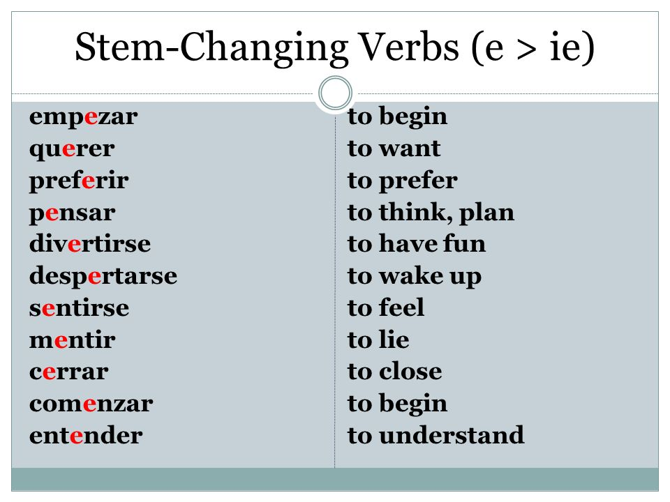 Stem-Changing Verbs (e > ie)