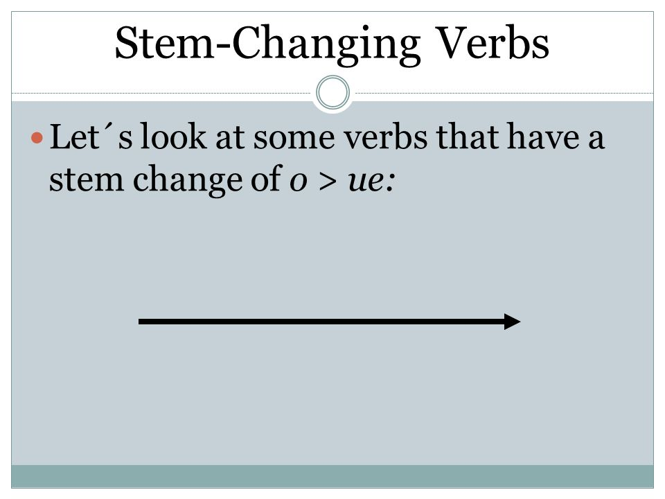 Stem-Changing Verbs Let´s look at some verbs that have a stem change of o > ue: