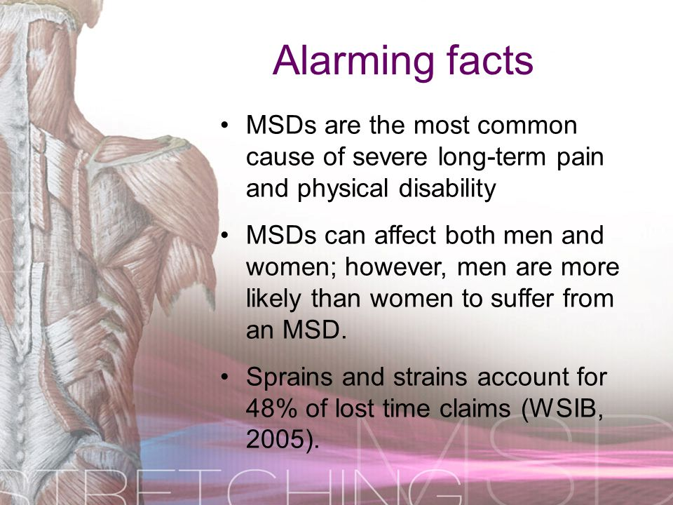 Alarming facts MSDs are the most common cause of severe long-term pain and physical disability.