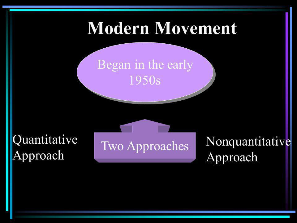 Modern Movement Began in the early 1950s Two Approaches Quantitative