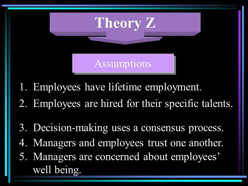 Theory Z Assumptions 1. Employees have lifetime employment.