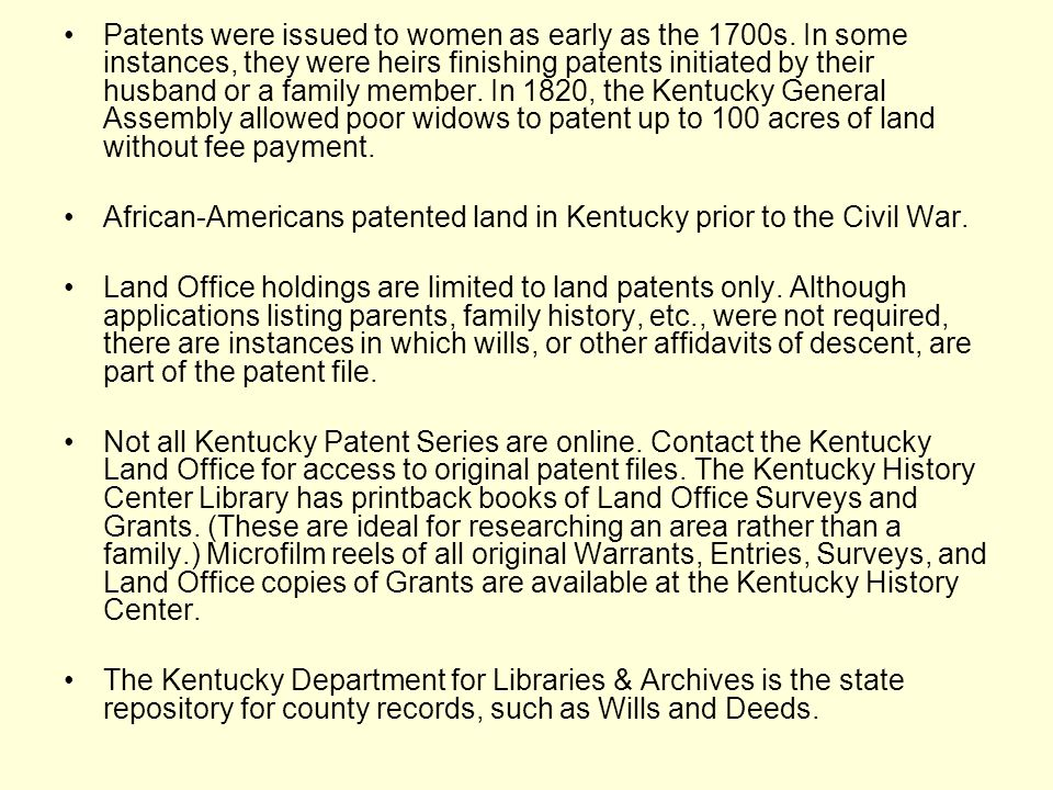 Early Land Patents in Kentucky - ppt video online download