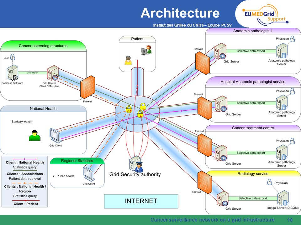 Architecture Cancer surveillance network on a grid infrastructure 18