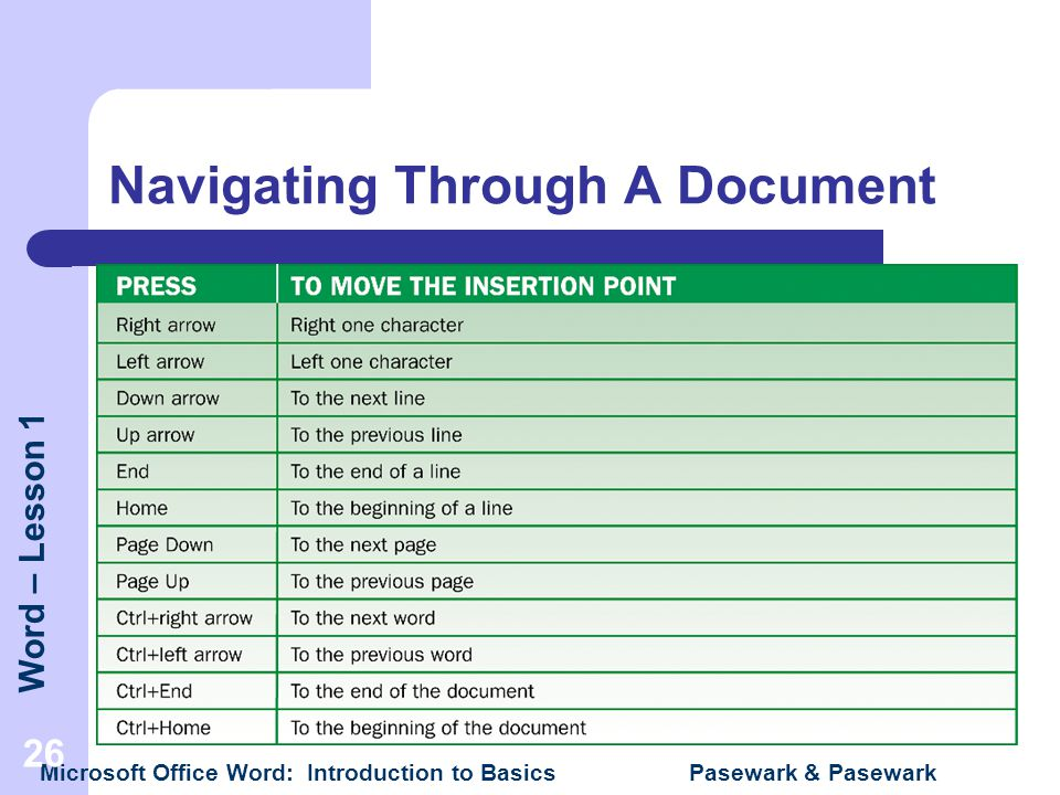 Navigating Through A Document