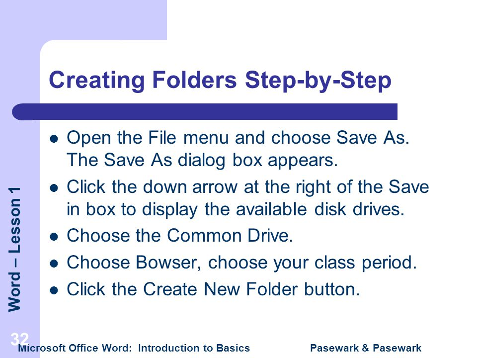 Creating Folders Step-by-Step