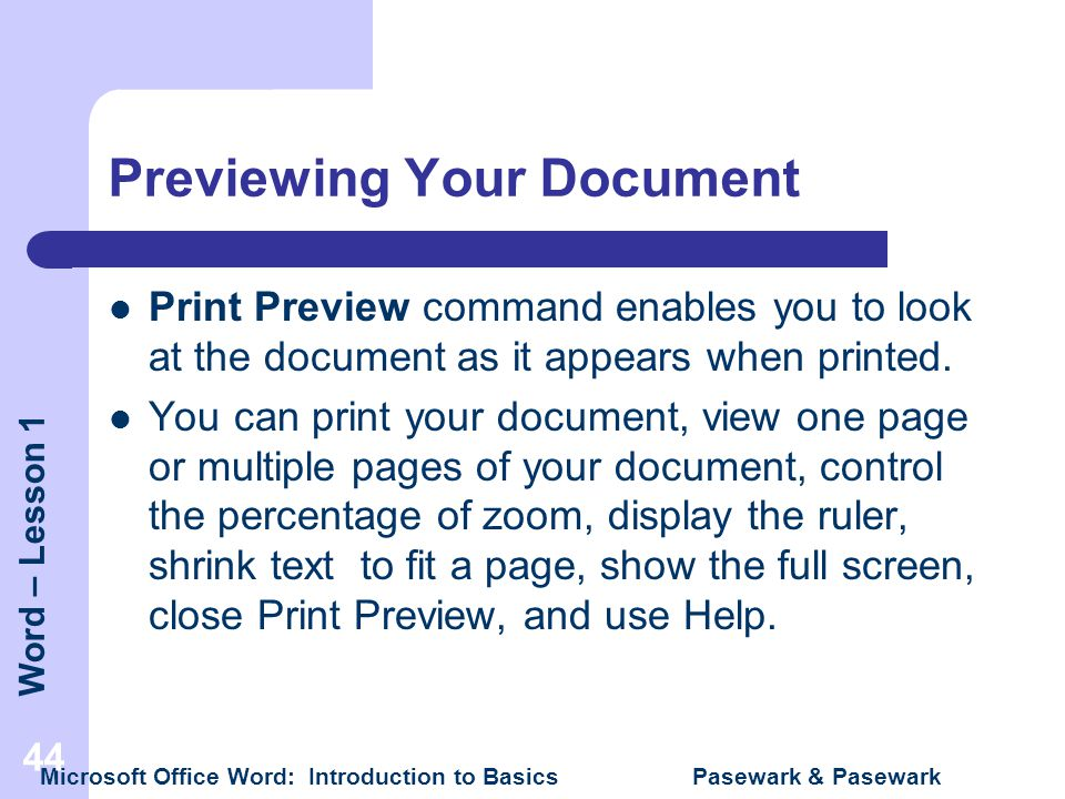 Previewing Your Document