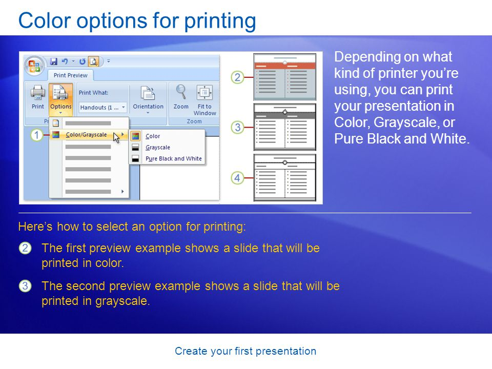 Color options for printing