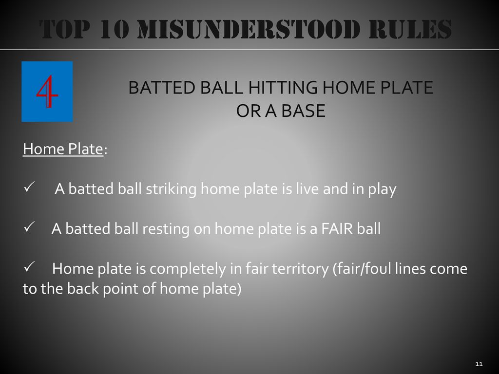 4 Top 10 Misunderstood Rules BATTED BALL HITTING HOME PLATE OR A BASE