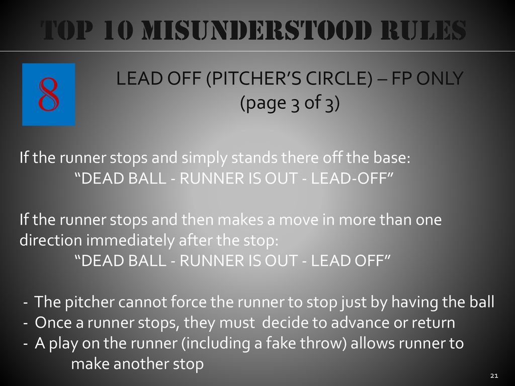 8 Top 10 Misunderstood Rules LEAD OFF (PITCHER'S CIRCLE) – FP ONLY