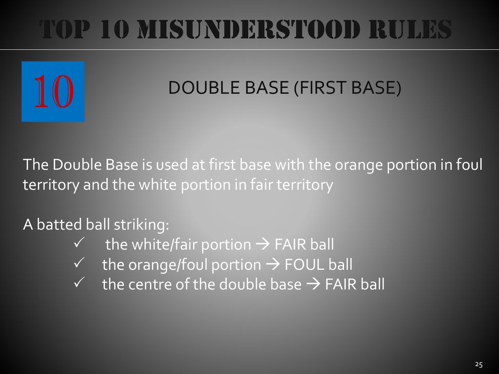 10 Top 10 Misunderstood Rules DOUBLE BASE (FIRST BASE)
