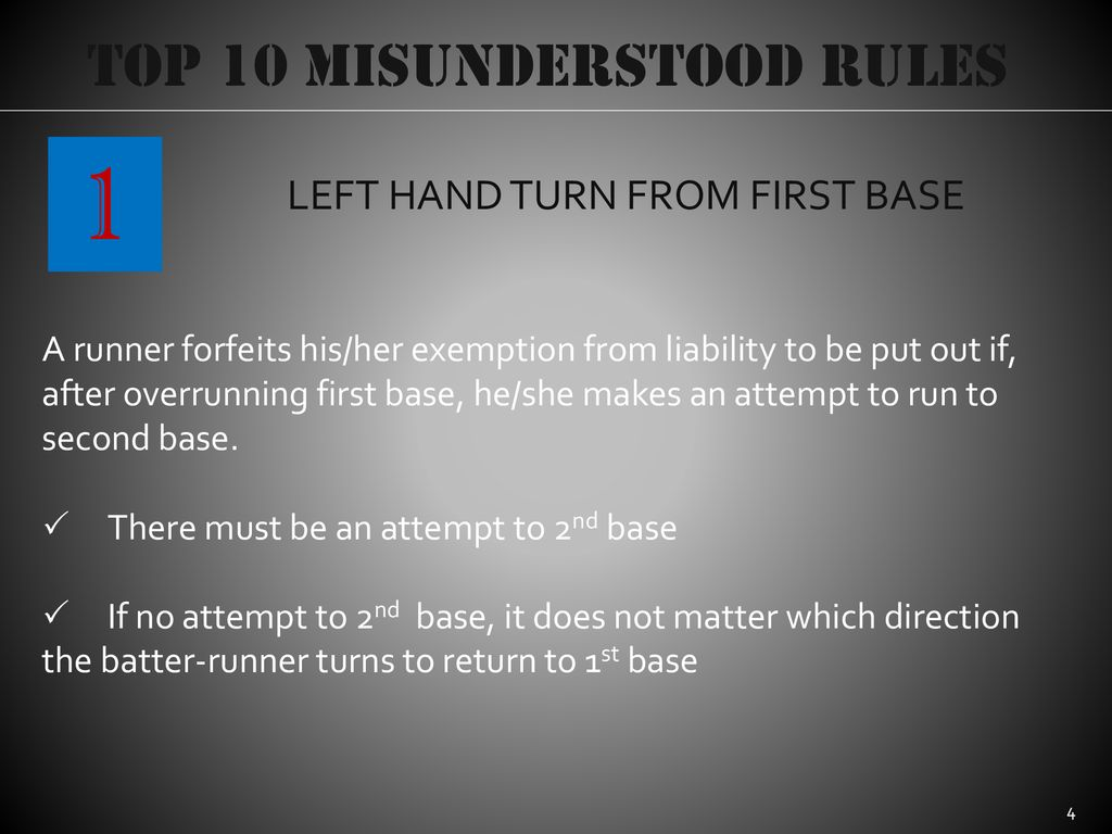 1 Top 10 Misunderstood Rules LEFT HAND TURN FROM FIRST BASE
