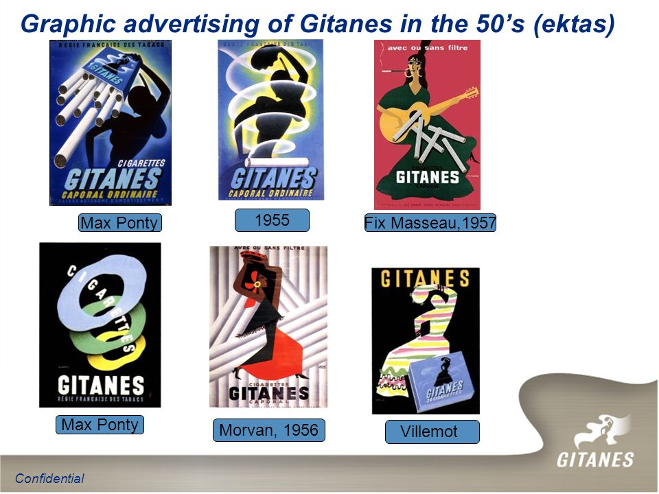 Graphic advertising of Gitanes in the 50's (ektas)