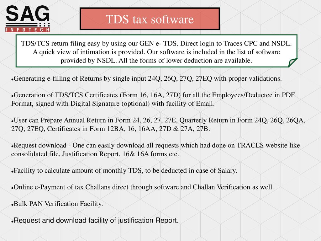 Service Begins Here Gen Tds Software Sag Infotech Pvt Ltd Ppt
