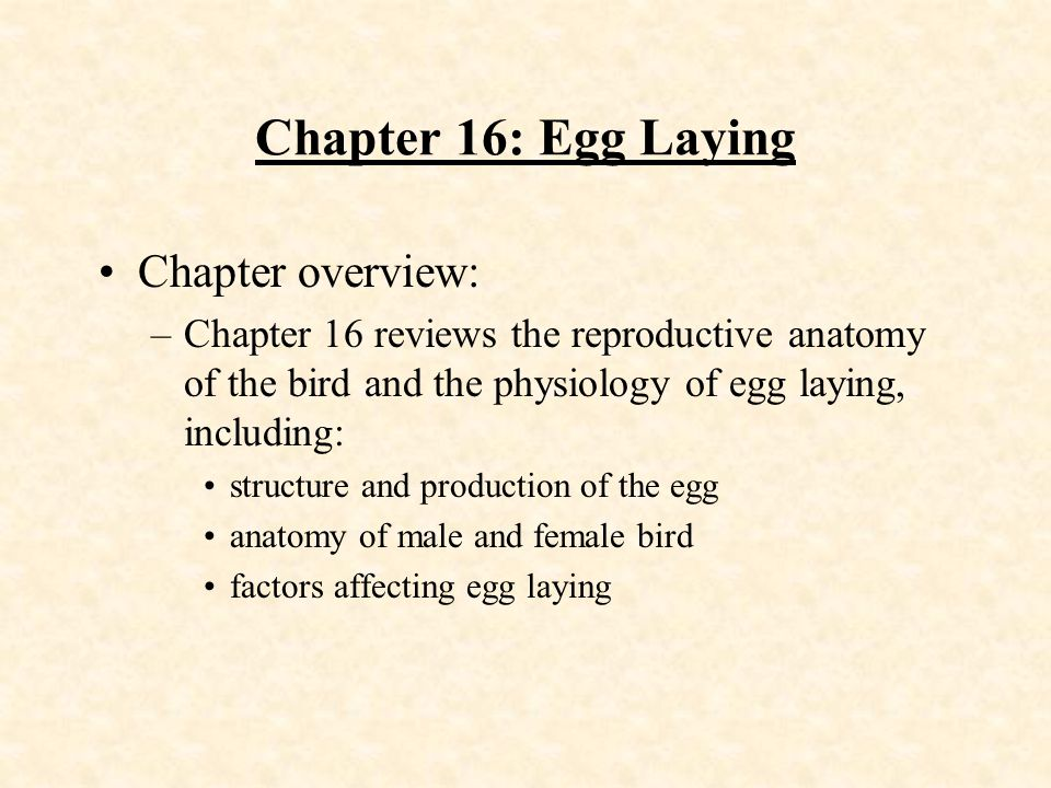 Chapter 16: Egg Laying Chapter overview: - ppt download